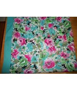 VINTAGE SCARF PINK & BLUE  ROSES   30