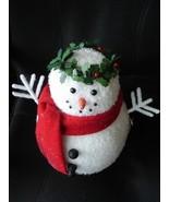 LED Large Snowman with Holly Wreath Figure NIB ... - $11.95