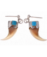 Navajo Bobcat Claw Turquoise Post Dangle Earrings - $132.07