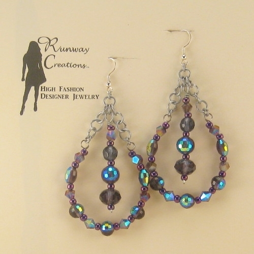 Fun & Glamorous Purple Mix Glass Glass Teardrop Earrings