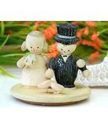 Vintage Folk Art Painted Wood Bride Groom Cake ... - $17.95