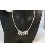 Bridal Austrian Crystal Silvertone Necklace And... - $22.00