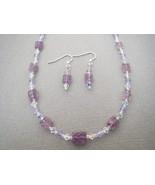 Light Carved Amethyst Necklace Earrings Swarov... - $41.40