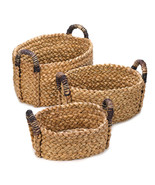 Cattail straw  Nesting Baskets SET Rustic Woven - $24.88