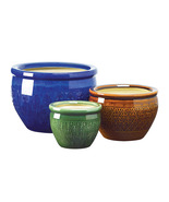 Embossed earthenware flower pot trio - $23.00