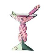 Pink Ribbon Martini Lapel Pin Breast Cancer Awa... - $10.97