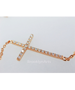 Gold Sideways Cross Necklace   14K Rose Gold Vermeil Pave Side Way Cross