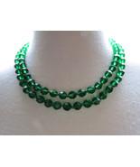 VTG Beaded Necklace Multi Strand Emerald Green ... - $29.99