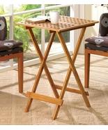 Folding Table 28 inch high Bamboo Rectangular T... - $34.95