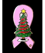Pink Ribbon Christmas Tree Pin Breast Cancer Aw... - $10.97