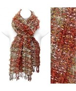 Tri tone orange woven double sided Viscose muff... - $16.82