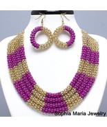 Gold pink fuchsia metal mesh layered necklace e... - $14.84