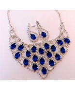 Evening Sapphire Blue Teardrop Crystal Necklace... - $18.70