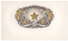 Cigar Box Inner Label El Weldo Embossed Star Go... - $4.74