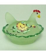 Green Glass Chick Hen on Nest  Salt Dip Cellar ... - $26.97
