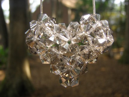 Swarovski Crystal Puffy Heart Necklace in Black Diamond