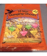 10 Halloween Plastic Bag Hanging Neon Ghosts Fi... - $3.99