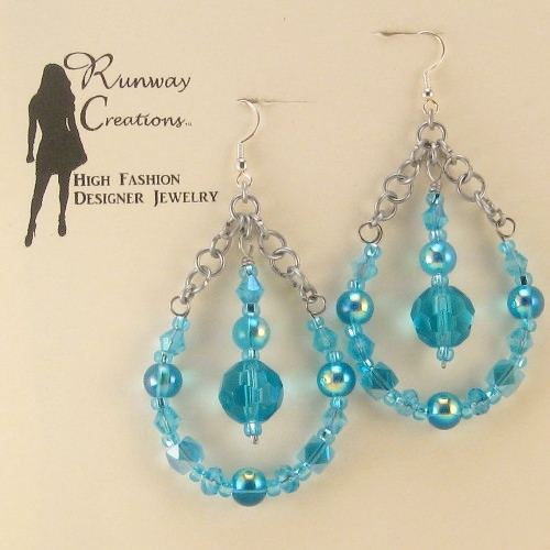 Fun & Trendy Aqua Blue Mix Glass Teardrop Earrings