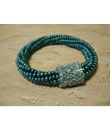 Beaded Bangle Bracelet, Teal & Aqua; Tubular Sp... - $36.00