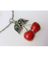 Red Enamel CHERRY genuine MARCASITES and STERLI... - $43.50