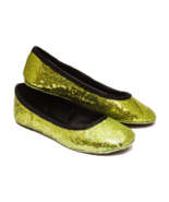 Sequin Olive Green Ballet Flats Slippers Shoes ... - $39.99