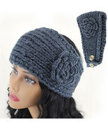Crochet Flower Accent Headband Head Wrap Dark Gray Knitted Head Band Free Ship