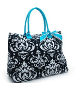 Large Chic Fashion Quilted Cotton Damask Tote w... - $32.99