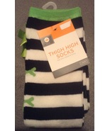 One Pair Black and White with Neon Green Bows S... - $4.99