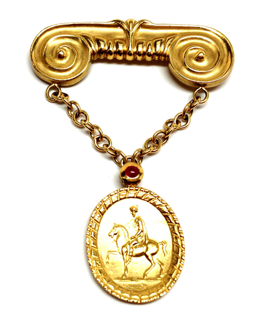 SEIDENGANG Solid 18K Yellow Gold with Ruby Cameo Horseman Drop Brooch Pin