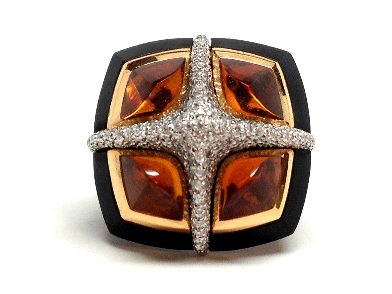 VALENTE 18K Gold Black Jet Citrine & Diamond Ring Sz 6 - 7 NEW Retail $14,240