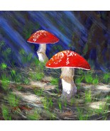 Red Mushrooms Amanita Muscaria Toadstools Origi... - $75.00