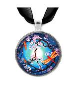 Peace Sign Tree Dragonflies Sakura Zen Handmade... - $32.99