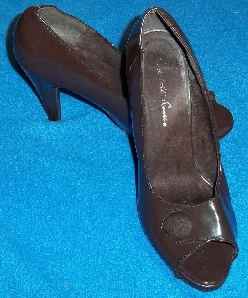 "Charlotte Russe Espresso Brown Patent Peep Toe 4"" High Pumps Heels 6M 6 Medium"
