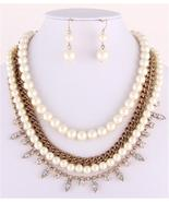 Stunning layered ivory pearl gold clear crystal... - $24.74
