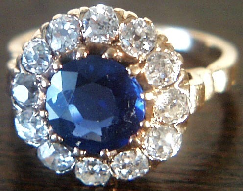Antique  Sapphire Old Mine Diamond Engagement  Ring 14K Gold