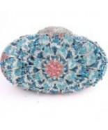 HB0130-SBP BLUE FLOWER PAVE CRYSTAL HANDMADE Ev... - $180.00