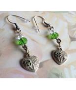Green Crystal Lucky Heart Charm Dangle Earrings... - $14.99