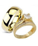 His & Hers 3 Piece Engagement Wedding Ring Set ... - $19.98