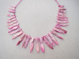 Freshwater Pearl Stick Necklace Pink Handmade - $23.99