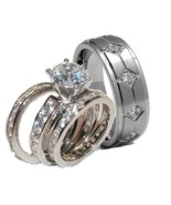 His & Hers Brilliant Cut Cz Wedding Ring Set Ba... - $49.99