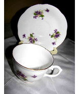 PURPLE VIOLETS TEA CUP+SAUCER Royal Stuart SPEN... - $18.99