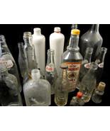 17 Pc Bottle Lot Clear Glass Misc Bottles Soda ... - $20.00