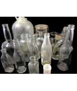 18 Pc Bottle Lot Clear Glass Misc Bottles Soda ... - $20.00