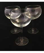 3 Matching Clear Glass Tall Deep Round Wine Gla... - $30.00