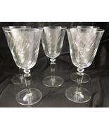 5 Pc Set White Wine Glasses Clear Glass Swirl P... - $25.00
