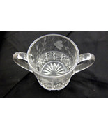 Open Sugar Bowl Dish Etched Flowers Clear Glass... - $15.00