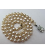 Pearl Necklace Faux Pearls Rhinestones Silver T... - $20.00
