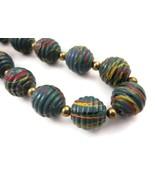 Necklace Blue Paint Splatter Beads Chunky 18