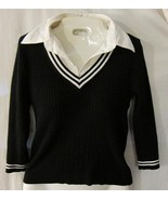 Women's Sweater Size S Small B&W White Collared... - $20.00