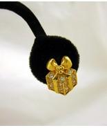 Pierced Earrings Posts Gold Tone White Rhinesto... - $20.00
